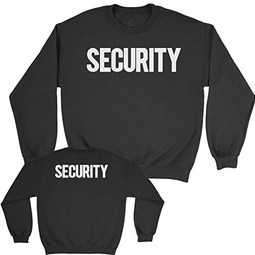 NYC FACTORY Security Sweatshirt Front Back Print Mens Staff Event Uniform Bouncer Screen Printed (Black/White, XL) -