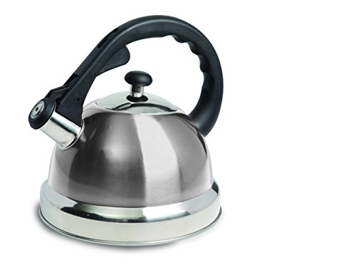 Mr Coffee 108075.01 Mr. Coffee Claredale Stainless Steel Whistling Tea Kettle, 1.7-Quart, Brushed Stainless Steel (Aluminum Steel Tea Kettle Stainless)