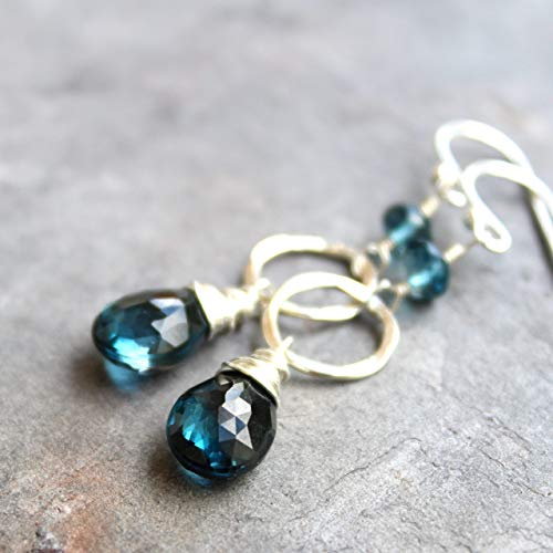 London Blue Topaz Earrings Sterling Silver Hammered Circles Dangle Drops ()