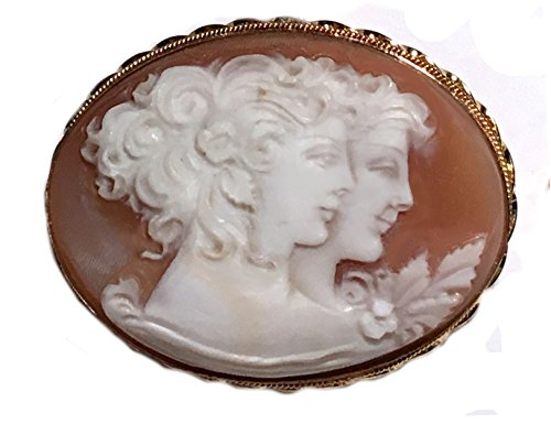 Cameo Brooch Enhancer 2 Sisters Italian Conch Shell Master Carved, Sterling Silver 18k Gold Overlay