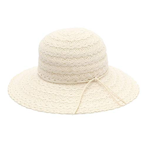 (Straw Hat Woman Summer Fresh Lace Hollow Out Ventilation Foldable Sunscreen Hat All-Match Sandy Beach Sun Hat)