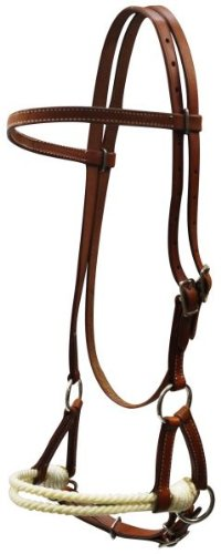 Double Rope Side Pull - Showman Horse Leather Double Stitched Sidepull With Double Rope Nose. Color Choice (Medium Oil)