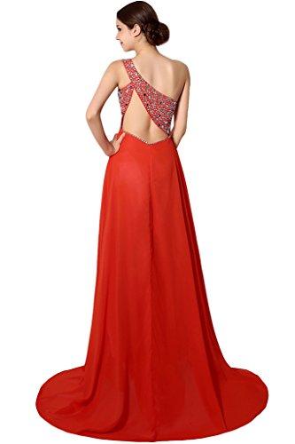 Missdressy Damen Glamour Ein-Schulter Pailette Steine Empire Abendkleid Chiffon Lang
