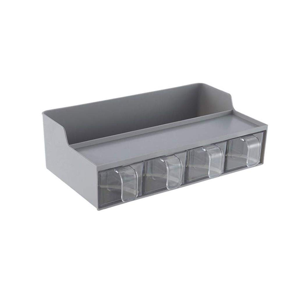 ZXMDMZ Household Storage Rack Seasoning Storage Rack Multi-Function Kitchen Storage Shelves Plastic Seasoning Box (Color : Gray)