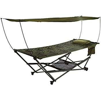 bliss hammocks q 806fjr stow ez portable hammock  u0026 4 point stand with canopy fern jacquard amazon     mac sports portable fold up hammock with removable      rh   amazon