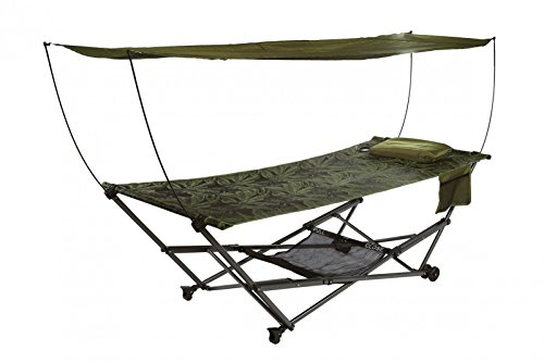 Bliss Hammocks Q-806FJr STOW-EZ Portable Hammock & 4 Point Stand with Canopy, Fern Jacquard