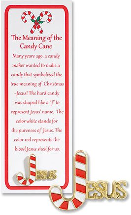 story of the candy cane lapel pins with bookmark - Hard Candy Christmas Meaning