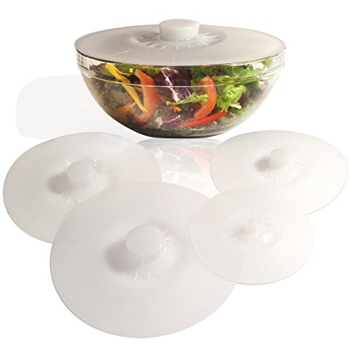 White Silicone Bowl Lids, Set of 5 Reusable Suction Seal Covers for Bowls, Pots, Cups. Food Safe. Natural grip, interlocking handles for easy use and storage.