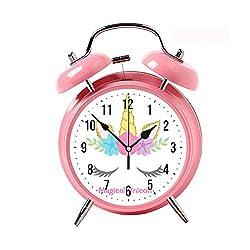 ZEREO 5 Colors Child Portable Cute Round Battery Alarm Clock Desktop Table Bedside Clocks Decor Pink Alarm Clock Gift Magical Unicorn