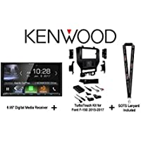 Kenwood DMX7704S 6.95 Digital Media Receiver w/ HD Radio, Apple CarPlay, Android Auto, Metra 99-5834CH Ford F150 2015-2017 Installation Kit and a FREE SOTS Lanyard
