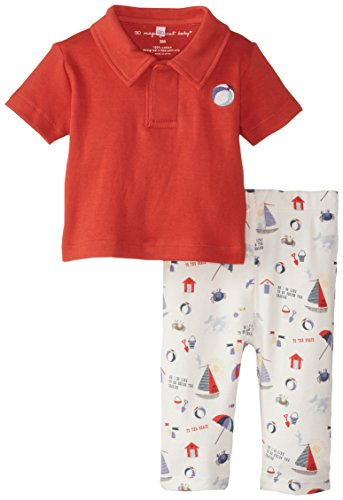 Magnificent Baby Baby-Boys Newborn Seaside Red Polo Shirt and Pant Set