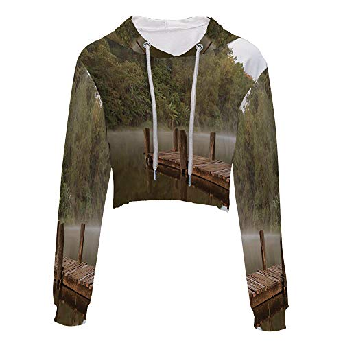 Long Sleeve Crop top Tops with Drawstring S/M Olive Green BrownWooden Pier -