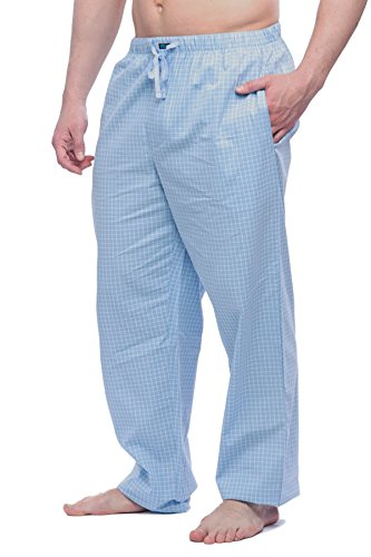 Men's Cotton Light weight woven Pajama Pant with pockets 17SkyBlueChecks L