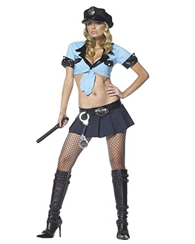 6 Pc Sexy Cop Costumes (Sexy 6 Pc Police Costume Cop Uniform Theatre Costumes Blue Skirt Crop Top Sizes: Medium-Large)