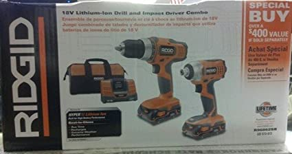 Ridgid 18V Lithium-Ion Drill and Impact Driver Combo - Power Tool ...