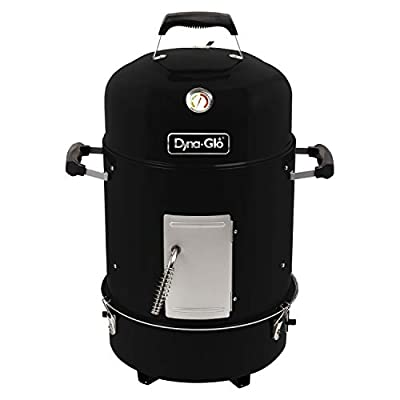 Dyna-Glo DGVS390BC-D Compact Bullet High Gloss Black Charcoal Smoker, High Gloss
