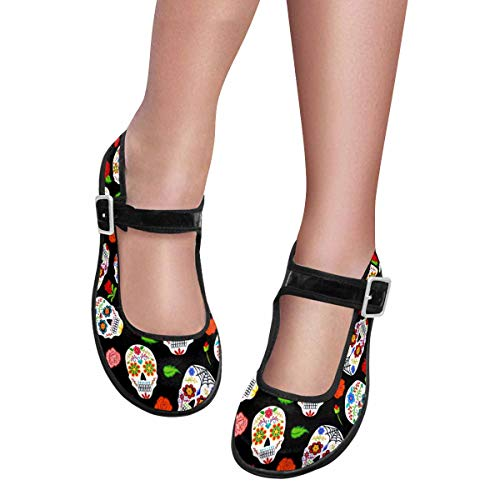 (INTERESTPRINT Women's Slip On Loafers Mary Jane Flats US8 Mexican Dia Los Muertos Sugar Skulls and Roses)