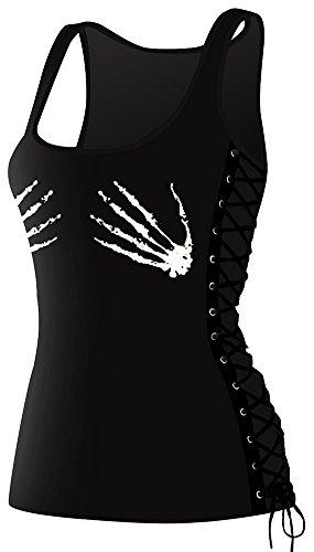 EmilyLe mujeres de gimnasio de yoga Running sin mangas Racerback Tank Top Vendaje Chaleco Camiseta 006Esqueleto