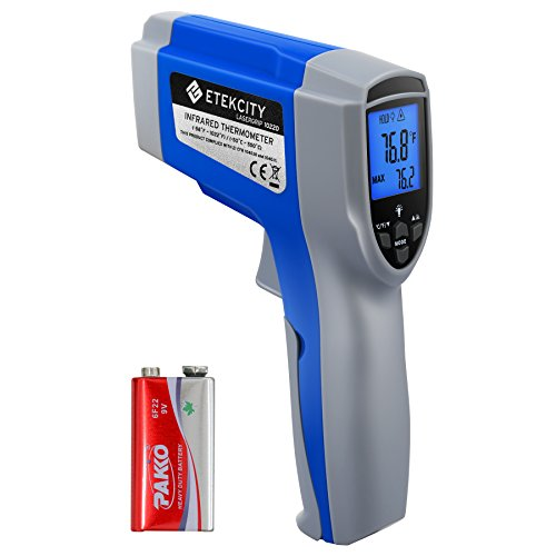 Etekcity 1022D Dual Laser Termómetro infrarrojo digital Pistola de temperatura Sin contacto -58 ℉ ~ 1022 ℉ (-50 ℃ ~ 550 ℃) con emisividad ajustable y medida máxima para refrigerador de carne Horno de piscina