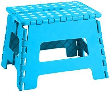 折りたたみスツールポータブルアダルト家庭用折りたたみ足ステップスツール多目的折り畳み式イージーストレージアンチスリップミニ小型ベンチ (Color : Blue, Size : L28*W21.4*H21.8cm)