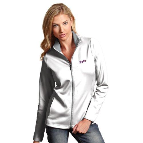 (MLB Atlanta Braves Women's Leader Jacket, White/Silver, X-Large)