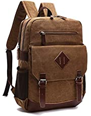 TELOSPORTS Vintage Laptop Backpack Canvas Business Travel Bag 15.6 Inch Computer Bag Rucksack Casual Daypack for Women Men