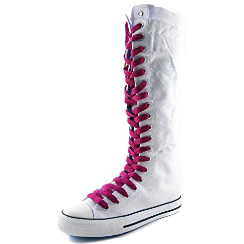 DailyShoes Womens Canvas Mid Calf Tall Boots Casual Sneaker Punk Flat, Hot Pink White Boots, Hot Pink Lace