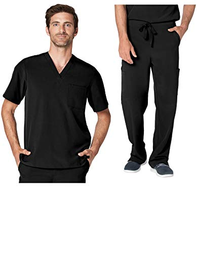 - Adar Addition Scrub Set for Men - Classic V-Neck Scrub Top & Cargo Scrub Pants - A9300 - Black - M