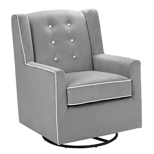 Baby Relax Emmett Button Tufted Upholstered Swivel Glider, Graphite Gray -