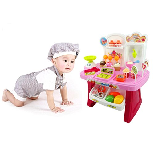 Leegor 34pcs Pretend Play Mini Supermarket Cash Register Shopping Cart Toys Set Kids Developmental Toy Christmas Gift