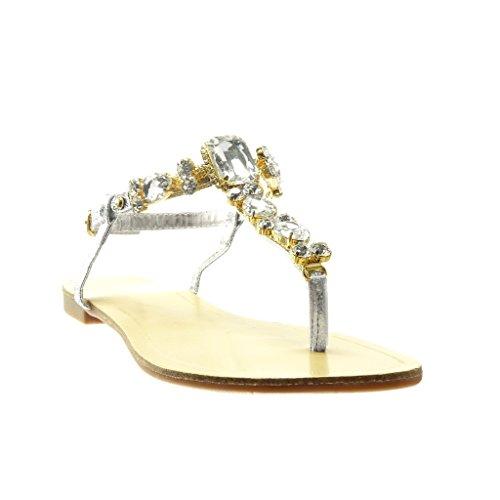 1 Plat cm Fantaisie Salomés Mode Talon Angkorly Diamant Sandale 5 Strass Bijoux Femme Argent Tong Chaussure 7HqSwqWpFP
