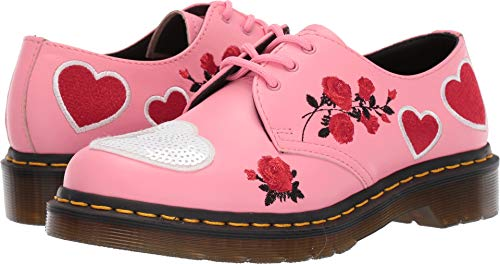 Dr. Martens Women's 1461 Hearts Core Applique Geranium Pink/White 4 M UK