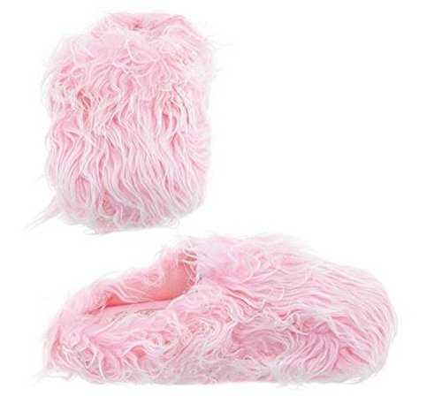 Womens Pink Furry Fuzzy Slippers (Medium) by Easy