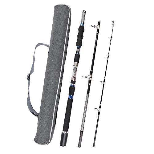Fiblink 3-Piece Spinning Rod Heavy Spinning Fishing Rod Portable Fishing Rod Graphite Spin Rod (30-50-Pound Test)