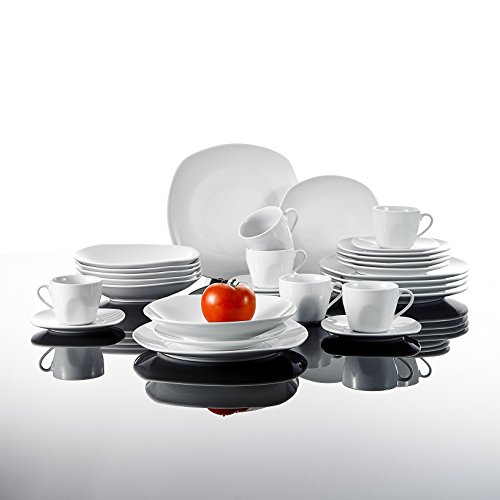 Malacasa, Series Elisa, 30-Piece Ivory White China Ceramic Dinnerware Sets of Cups & Saucers Set, Porcelain Plates Sets Service for...