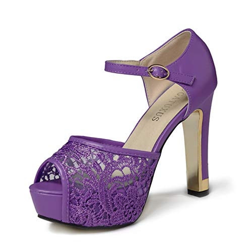 GATUXUS Lace Open Toe Women Platform High Heel Shoes Party Pumps Prom (7 B(M) US, Purple)