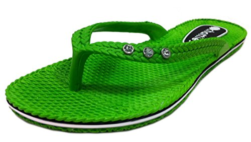 Chatties Women's Comfort Flip Flop with Rhinestones Lime - - Flop Flip Green Lime