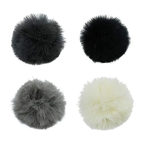 (NATFUR 4 Colors Large Fluffy DIY Feather Pom Pom Ball for Key Chain Handbag Pendant Novelty Key-Chain Cute for Gift Elegant Pretty Novelty Beautiful Beauteous)