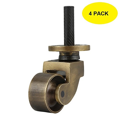 Set of 4 Solid Brass Stem Caster Heavy Duty & Safe for All Floors Perfect Replacement for Floor (Brass Wheel Caster)