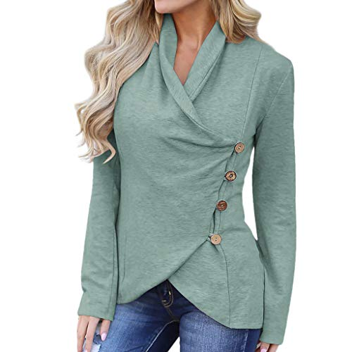 WOCACHI Blouses for Womens, Fashion Women Casual V-Neck Long Sleeve Solid Buttons Irregular Hem Tops Blouse Girlfriend Boyfriend Gift Under 5 10 Fashion Newest Couples