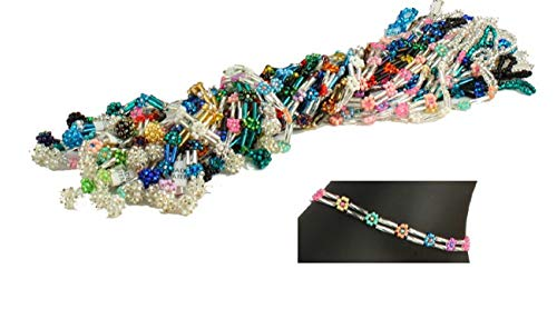 "Sanyork Fair Trade AN104-002 25 Anklet Daisy Bugle Crystal Glass Beads 8"" Wholesale Lot Guatemala from Sanyork Fair Trade"