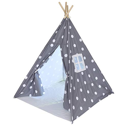Kids Teepee Tent for Kids, No Toxic Chemicals Added, Carrying Case, Polka Dot Play Tents Indoor for Boys & Girls, Large Tipi for Toddler Dog Baby Boy Adult Children Adults Dogs Childs Reading Nook