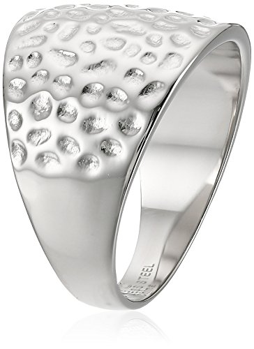Women's Stainless Steel Hammered Texture Ring. Size 8