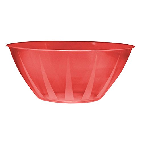 Party Essentials N342561 Hard Plastic 160-Ounce Serving Bowl, Red ()