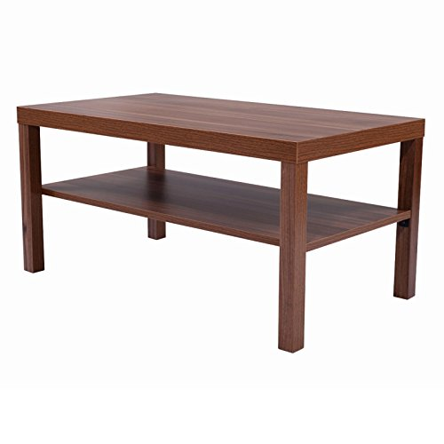 Coffee End Table Rectangle Modern Living Room Furniture w/ Storage Lower Shelf Brown (Halloween Drag Makeover)