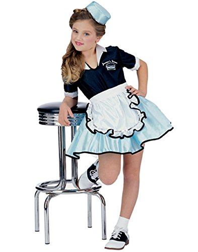 50s Car Hop Girl Child Small (4-6) Retro 50's Costume (50s Greaser Girl)