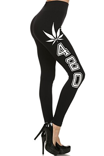 tretchy Athletic Leggings with Pot Leaf 420 Side Lettering ()
