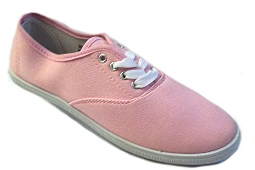 (Shoes 18 Womens Canvas Shoes Lace up Sneakers 18 Colors Available (8.5, Baby Pink 324))