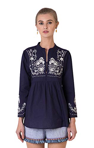 Indigo Paisley Daisy 100% Cotton Women's Blouse with Ornate Embroidery (L, Eclipse)