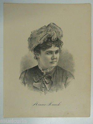 antique stipple engraving MINNIE HAUCK opera singer 9x11